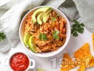 Рецепта Пилешка фахитас с лук, чушки и салца в уред за бавно готвене Slow Cooker